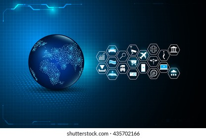 abstract global digital technology with internet of things icon design background