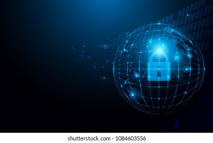 Abstract global and network and security futuristic technology connection concept dark blue background