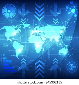 Abstract global technology concept background, vector illustration