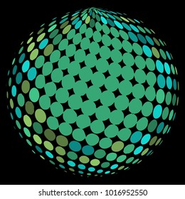 Abstract globe dotted sphere, 3d halftone dot effect. Colorful dots in dark background. Rainbow color in earth shape. Vector illustration. It can use as logo, icon, banner., business card.
