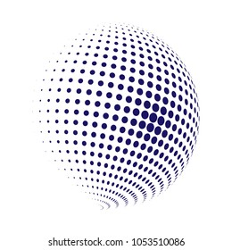 Abstract globe dotted sphere, 3d halftone dot effect. Blue dots in white background. Vector illustration. It can use as logo, icon, banner, business card. Modern minimal covers design.