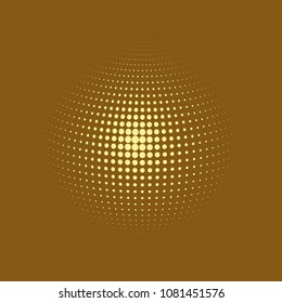 Abstract globe dotted sphere, 3d halftone dot effect. White dots in brown background. Vector illustration. It can use as logo, icon, banner, business card. Modern minimal covers design.