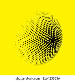 Abstract globe dotted sphere, 3d halftone dot effect. Black dots in yellow background. Vector illustration. It can use as logo, icon, banner, business card. Modern minimal covers design.