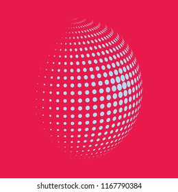 Abstract globe dotted sphere, 3d halftone dot effect. White dots in dark pink background. Vector illustration. It can use as logo, icon, banner, business card. Modern minimal covers design.
