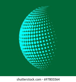 Abstract globe dotted sphere, 3d halftone dot effect. Light green color, in dark green background. Vector illustration. It can use as logo, icon. Earth shape.
