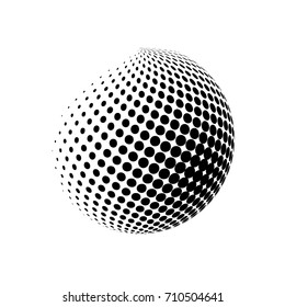 Abstract globe dotted sphere. 3d halftone effect vector background. Black and white vector illustration.