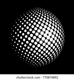 Abstract globe dotted sphere, 3d halftone dot effect. White color, in black background. Vector illustration. It can be used as logo, icon. Earth shape.