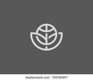 Abstract globe flower vector logo design. Global leaf eco shadow logotype. Linear game team ball icon symbol