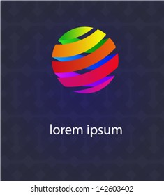 Abstract globe icon made from color ribbons. Business and social networks concept. As sign, symbol, web, label, emblem. Eps 10