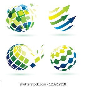 abstract globe icons, business and social networks concept