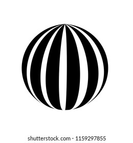Abstract globe stripes sphere, 3d style striped globe icon effect. Black ball logo in white background. Dark color in earth shape. Vector illustration. It can use as logo, icon, banner, business card.