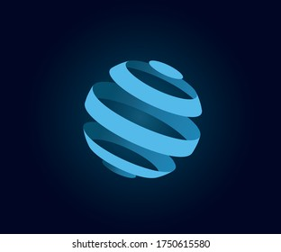 Abstract globe stripes sphere, 3D style striped globe icon effect. Blue ball logo in dark background. Color earth logo shape. Vector illustration. It can use as logo, icon, banner, business card.
