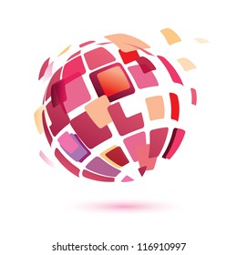 abstract globe symbol, isolated vector icon, business concept