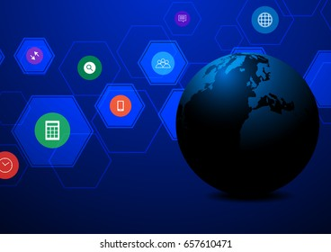 Abstract globe technology with hexagons and application on dark background some Elements of this image furnished by NASA