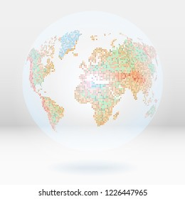 Abstract globe or world map located on the background of 3D rooms. Dotted style vector illustration