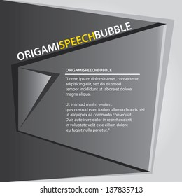 Abstract glossy black origami speech bubble on grey background. Vector abstract cover background. Black and white stylish brochure for text and advertising. Paper background.