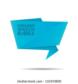 Abstract glossy blue origami speech bubble. Vector abstract background.