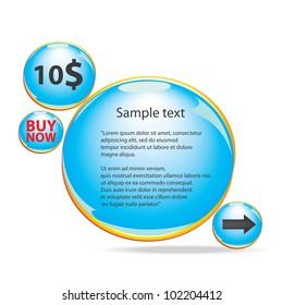 Abstract glossy blue speech bubble. Vector illustration.