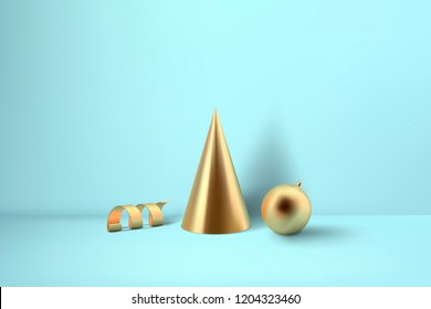 Abstract glossy Christmas decprations. Golden coil metallic spiral ribbon, cone and sphere geometric shapes.  New year and xmas decoration concept. 3d minimal pastel colored background