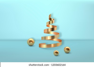 Abstract glossy Christmas trees. Golden coil metallic spiral ribbon and sphere geometric shapes.  New year and xmas decoration concept. 3d minimal pastel colored background