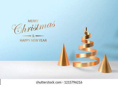 Abstract glossy Christmas trees. Golden coil metallic cone, spiral ribbon geometric shapes.  New year and xmas decoration concept. 3d minimal pastel colored background