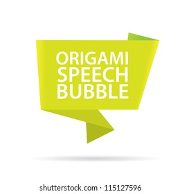 Abstract glossy green origami speech bubble. Vector abstract background. Green brochure.