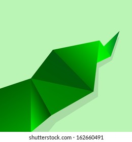 Abstract glossy green origami speech bubble. Vector abstract background