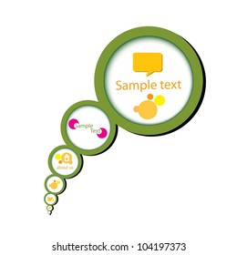 Abstract glossy green speech bubble. Vector illustration.