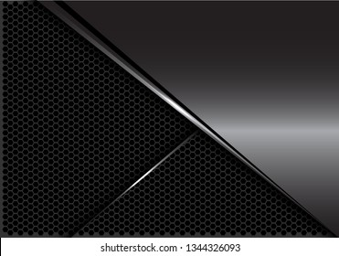 Abstract glossy grey metal silver line on dark hexagon mesh design modern luxury futuristic background vector illustration.