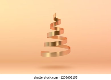 Abstract glossy spiral Christmas tree. Golden coil metallic ribbon.  New year and xmas decoration concept. 3d minimal pastel colored background