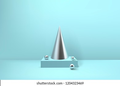 Abstract glossy spiral Christmas tree. Silver coil metallic pyramid, cone and sphere geometric shapes.  New year and xmas decoration concept. 3d minimal pastel colored background