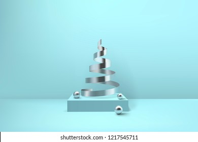 Abstract glossy spiral Christmas tree. Silver coil metallic ribbon and spheres on podium.  New year and xmas decoration concept. 3d minimal pastel colored background