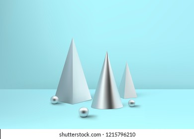 Abstract glossy spiral Christmas trees. Silver coil metallic pyramid, cone and sphere geometric shapes.  New year and xmas decoration concept. 3d minimal pastel colored background
