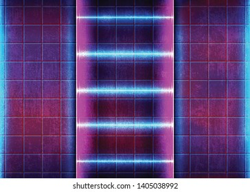 Abstract Glow Background with Bright Neon Effects on the Old Concrete Grunge Wall. Conceptual Colorful Lights, Futuristic Glowing. Eps10 Vector Illustration - Vector