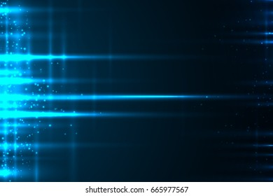 Abstract glow light motion vector background with lines and glitter particles.