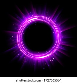 Abstract Glowing Circle, Elegant Illuminated Light ring. Vector Illustration