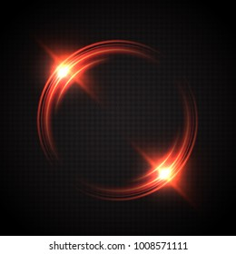 Abstract glowing circles. Bright and brilliant halo. Light optical effect. Vector illustration