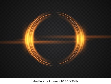 Abstract glowing circles. Bright and brilliant halo. Lens flare effect. Vector illustration