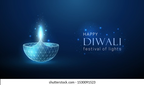 Abstract glowing lamp. Diwali greeting card. Abstract geometric background. Wireframe light connection structure. Modern 3d graphic concept. Isolated vector illustration.
