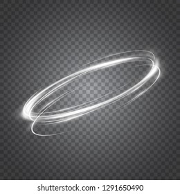 Abstract glowing neon rings. A bright trace from the blazing rays of swirling in a fast motion in a spiral. Slow shutter speed effect. Transparent light vector illustration