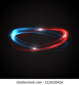 Abstract glowing rings. Colored neon circles. A bright trace from the blazing rays of swirling in a fast motion in a spiral. Slow shutter speed effect. Transparent light vector illustration