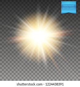 Abstract  glowing warm yellow sun, star burst on transparent background. Vector illustration with light effects of flare and radiant light beams.
