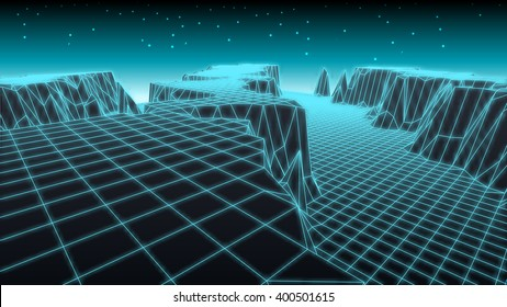Abstract glowing wireframe landscape background. Mountains technology concept.