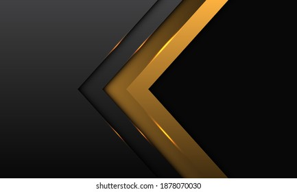 Abstract gold arrow direction with grey metallic with black blank space design modern luxury futuristic background vector illustration.