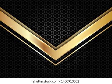 Abstract gold arrow direction on dark grey circle mesh design modern luxury futuristic background vector illustration.
