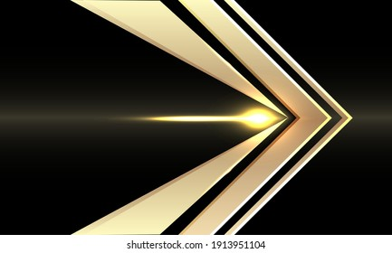 Abstract gold arrow speed direction on black design modern futuristic background vector illustration.