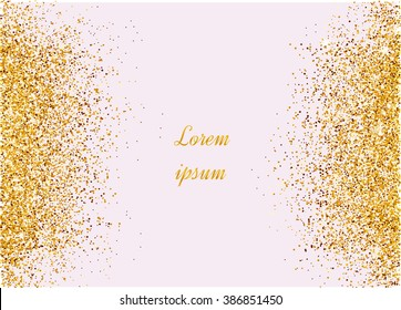 Abstract gold background. Gold background for card. Gold glitter. Gold sparkles on pink background.