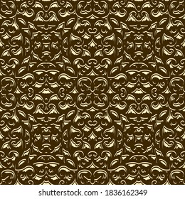 Abstract gold background with crumpled texture, golden metallic surface, metal foil effect, seamless vector pattern