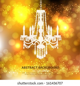Abstract gold background decorative antique chandelier. Vector EPS 10 illustration.