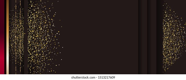 Abstract gold background luxury dark and golden line template premium vector